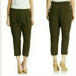 Free People Olive Green Tailored Linen Pants
